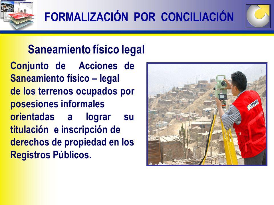 Conjunto de Acciones de Saneamiento físico – legal de los terrenos ocupados por posesiones informales orientadas a lograr su titulación e inscripción