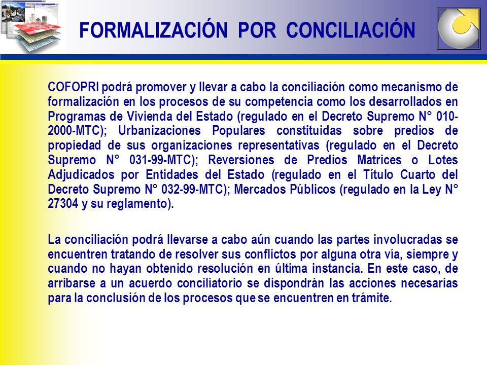 COFOPRI podrá promover y llevar a cabo la conciliación como mecanismo de formalización en los procesos de su competencia como los desarrollados en Pro