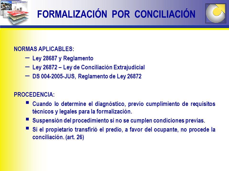 NORMAS APLICABLES: – Ley 28687 y Reglamento – Ley 26872 – Ley de Conciliación Extrajudicial – DS 004-2005-JUS, Reglamento de Ley 26872 PROCEDENCIA: Cu