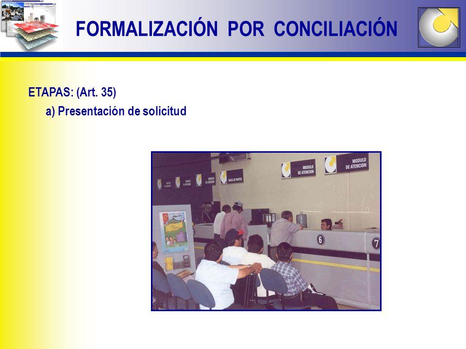 FORMALIZACIÓN POR CONCILIACIÓN ETAPAS: (Art. 35) a) Presentación de solicitud