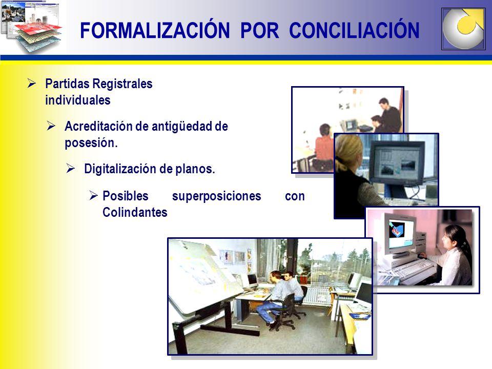 FORMALIZACIÓN POR CONCILIACIÓN Partidas Registrales individuales Acreditación de antigüedad de posesión. Digitalización de planos. Posibles superposic