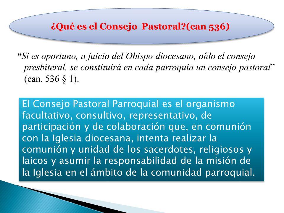 Si es oportuno, a juicio del Obispo diocesano, oído el consejo presbiteral, se constituirá en cada parroquia un consejo pastoral (can. 536 § 1). El Co