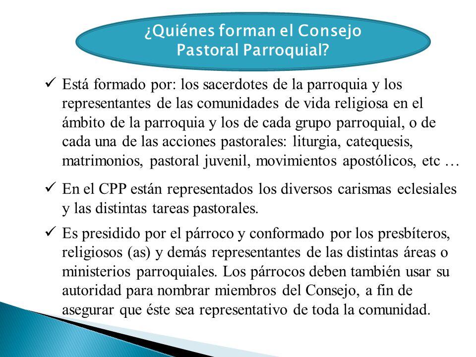 ¿Quiénes forman el Consejo Pastoral Parroquial? Está formado por: los sacerdotes de la parroquia y los representantes de las comunidades de vida relig