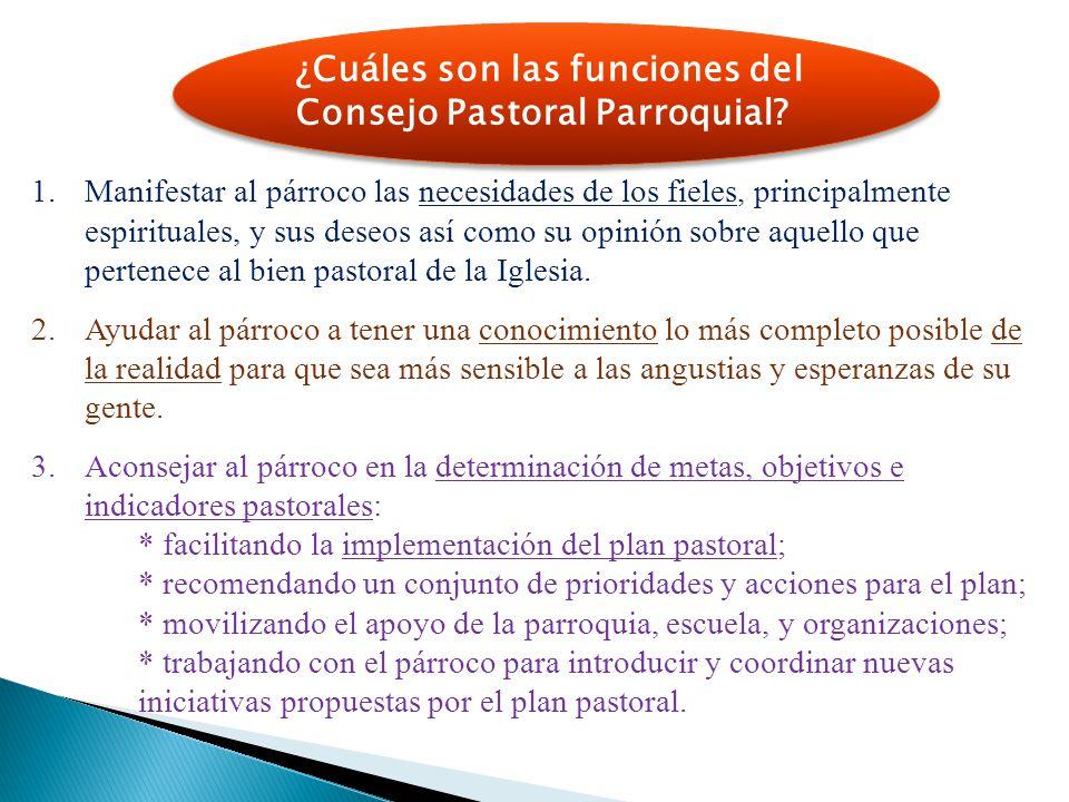 ¿Cuáles son las funciones del Consejo Pastoral Parroquial? 1.Manifestar al párroco las necesidades de los fieles, principalmente espirituales, y sus d