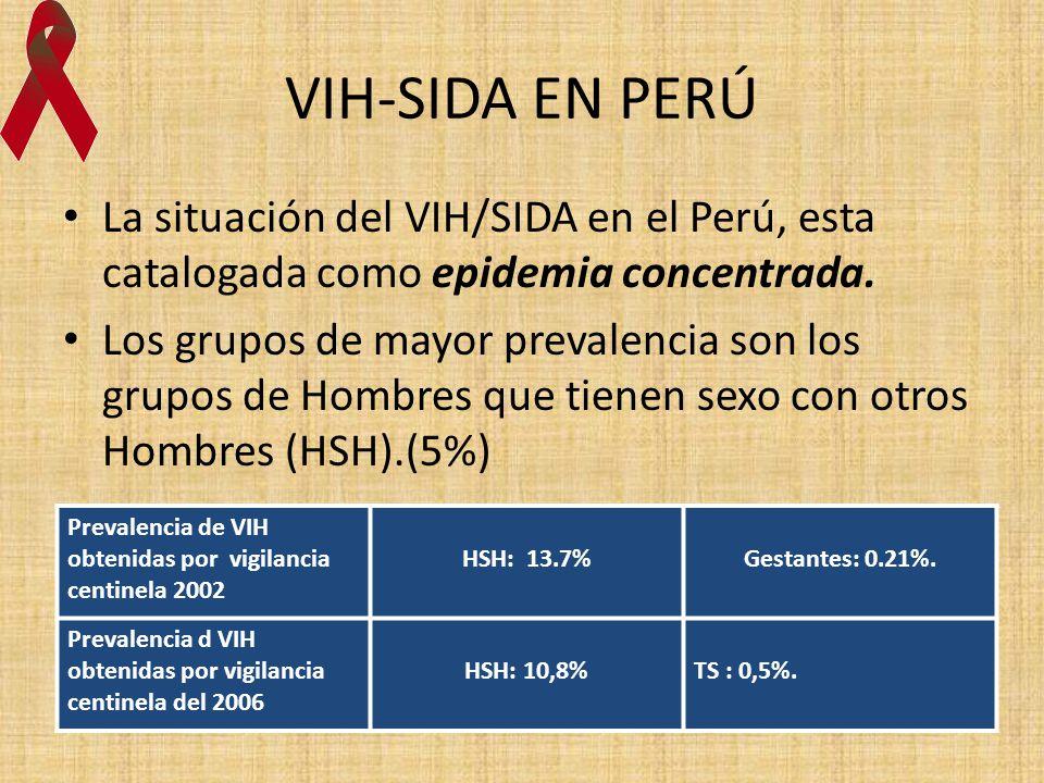 VIH-SIDA EN PERÚ La situación del VIH/SIDA en el Perú, esta catalogada como epidemia concentrada. Los grupos de mayor prevalencia son los grupos de Ho