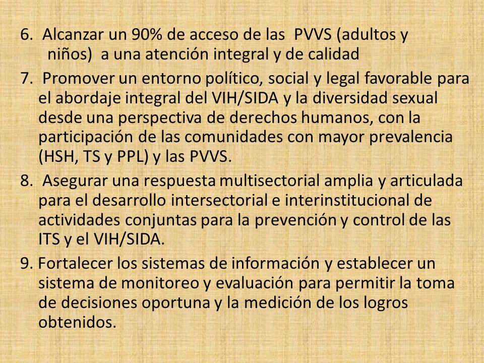 6. Alcanzar un 90% de acceso de las PVVS (adultos y niños) a una atención integral y de calidad 7. Promover un entorno político, social y legal favora