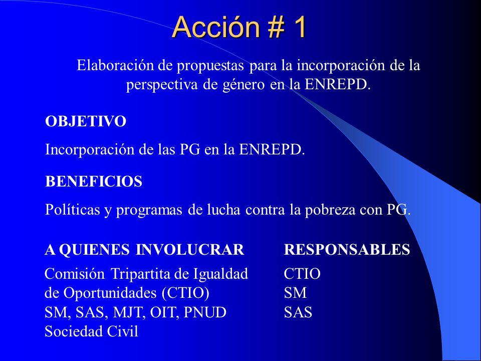 Acción # 1 Elaboración de propuestas para la incorporación de la perspectiva de género en la ENREPD.