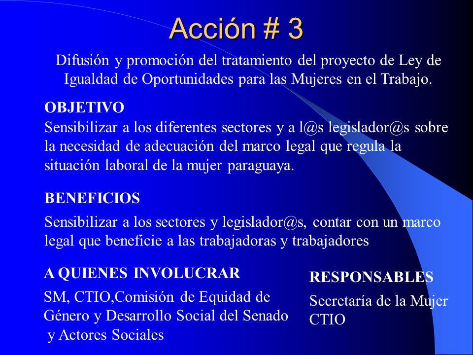 Acción # 4 Promover la elaboración de un Plan de Igualdad de Oportunidades para hombres y mujeres en la empresa.