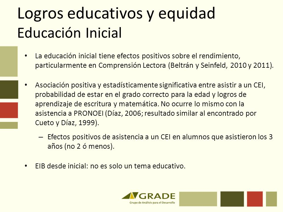 Logros educativos y equidad Educación Inicial La educación inicial tiene efectos positivos sobre el rendimiento, particularmente en Comprensión Lector