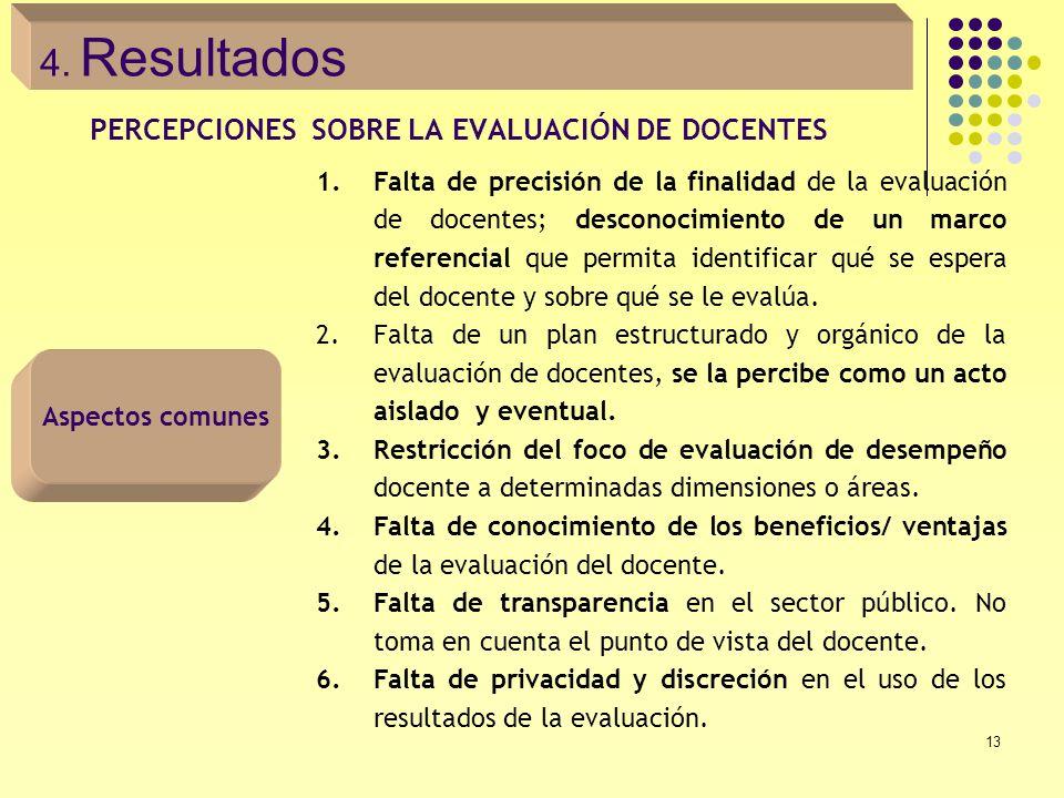 13 PERCEPCIONES SOBRE LA EVALUACIÓN DE DOCENTES 1.Falta de precisión de la finalidad de la evaluación de docentes; desconocimiento de un marco referen