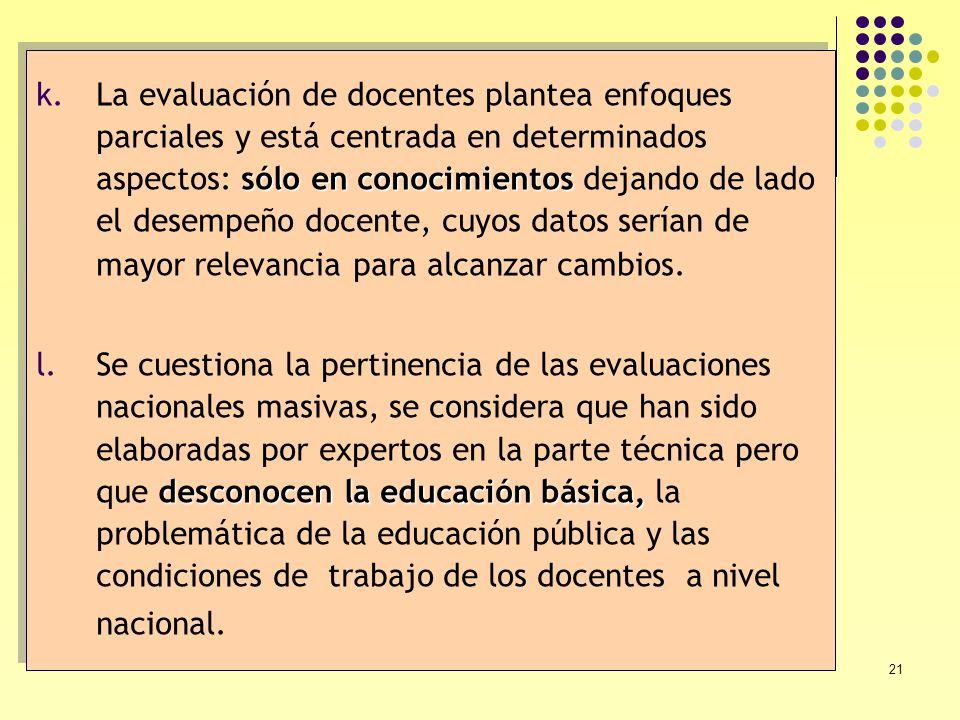 21 sólo en conocimientos k.La evaluación de docentes plantea enfoques parciales y está centrada en determinados aspectos: sólo en conocimientos dejand