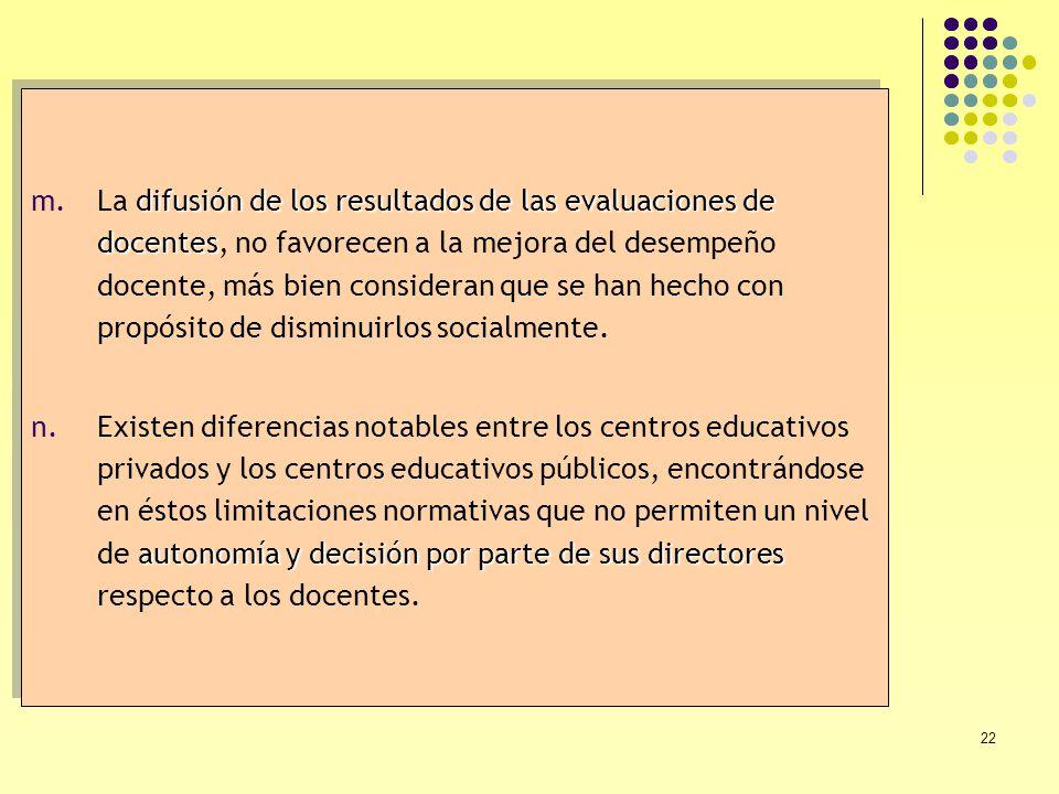 22 difusión de los resultados de las evaluaciones de docentes m.La difusión de los resultados de las evaluaciones de docentes, no favorecen a la mejor