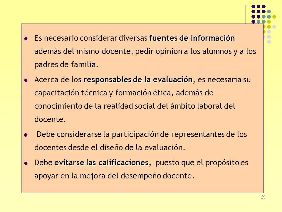 29 fuentes de información Es necesario considerar diversas fuentes de información además del mismo docente, pedir opinión a los alumnos y a los padres
