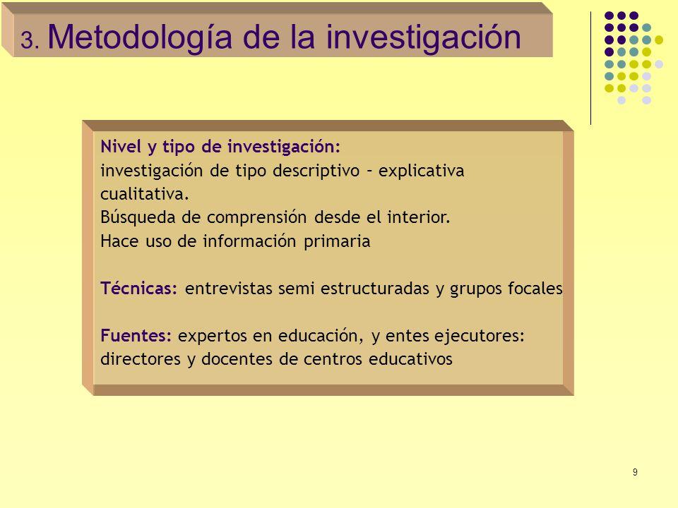 9 Nivel y tipo de investigación: investigación de tipo descriptivo – explicativa cualitativa. Búsqueda de comprensión desde el interior. Hace uso de i