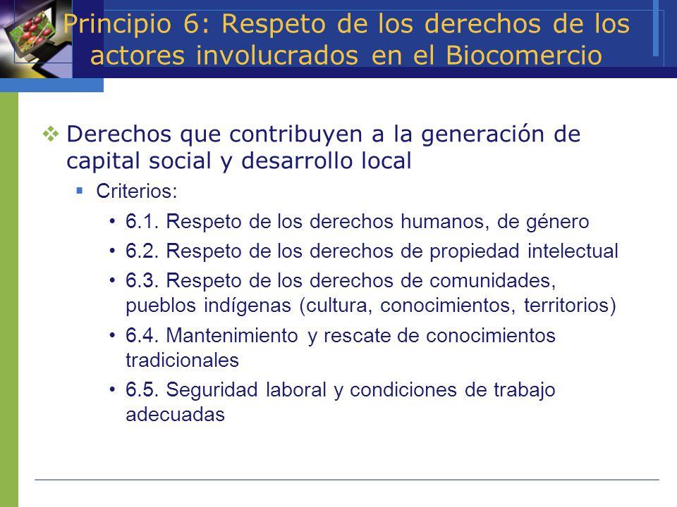 Principio 6: Respeto de los derechos de los actores involucrados en el Biocomercio Derechos que contribuyen a la generación de capital social y desarr