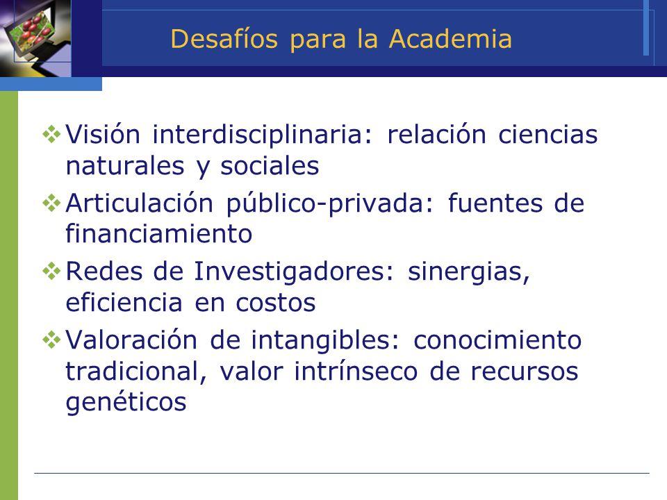 Desafíos para la Academia Visión interdisciplinaria: relación ciencias naturales y sociales Articulación público-privada: fuentes de financiamiento Re