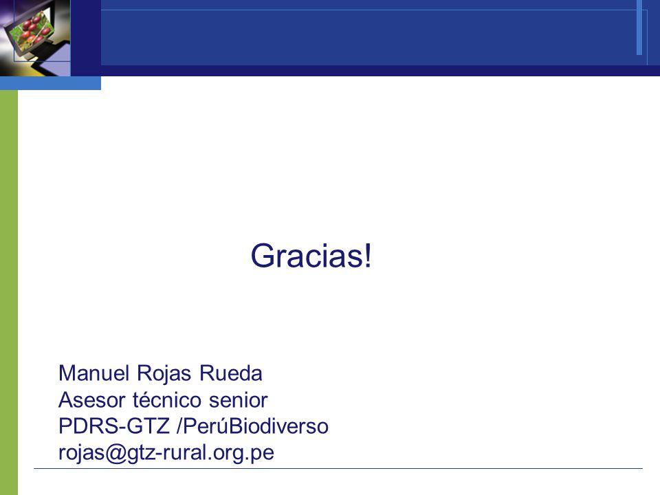 ¡ Gracias! Manuel Rojas Rueda Asesor técnico senior PDRS-GTZ /PerúBiodiverso rojas@gtz-rural.org.pe
