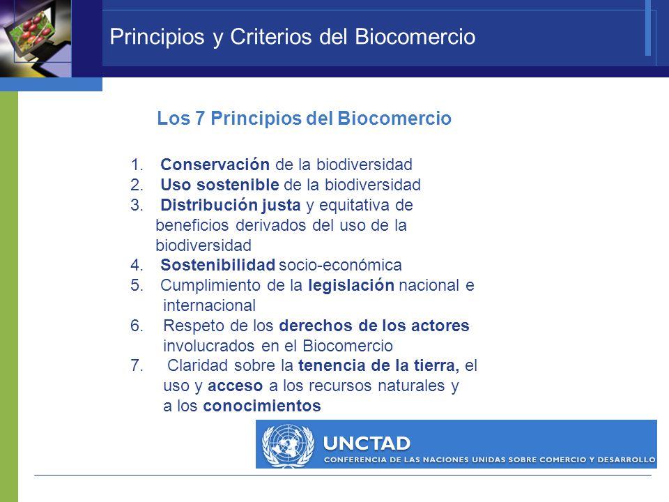 Principios y Criterios del Biocomercio 1. Conservación de la biodiversidad 2. Uso sostenible de la biodiversidad 3. Distribución justa y equitativa de