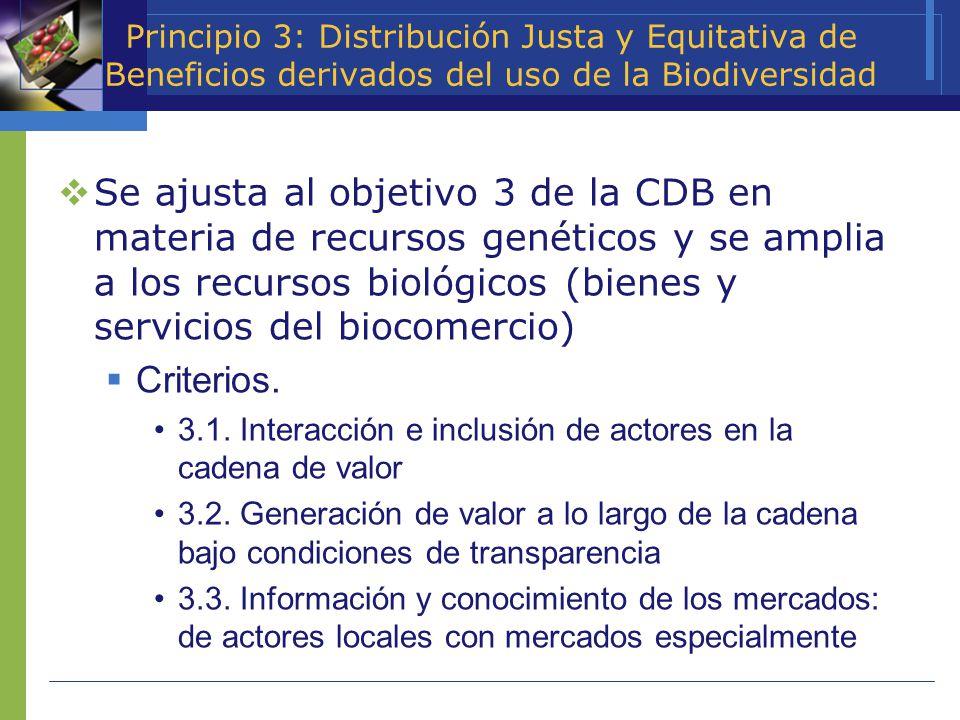 Principio 3: Distribución Justa y Equitativa de Beneficios derivados del uso de la Biodiversidad Se ajusta al objetivo 3 de la CDB en materia de recur