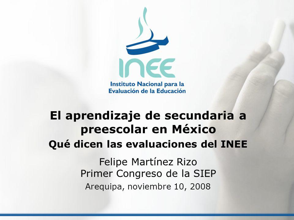 El aprendizaje de secundaria a preescolar en México Qué dicen las evaluaciones del INEE Felipe Martínez Rizo Primer Congreso de la SIEP Arequipa, novi