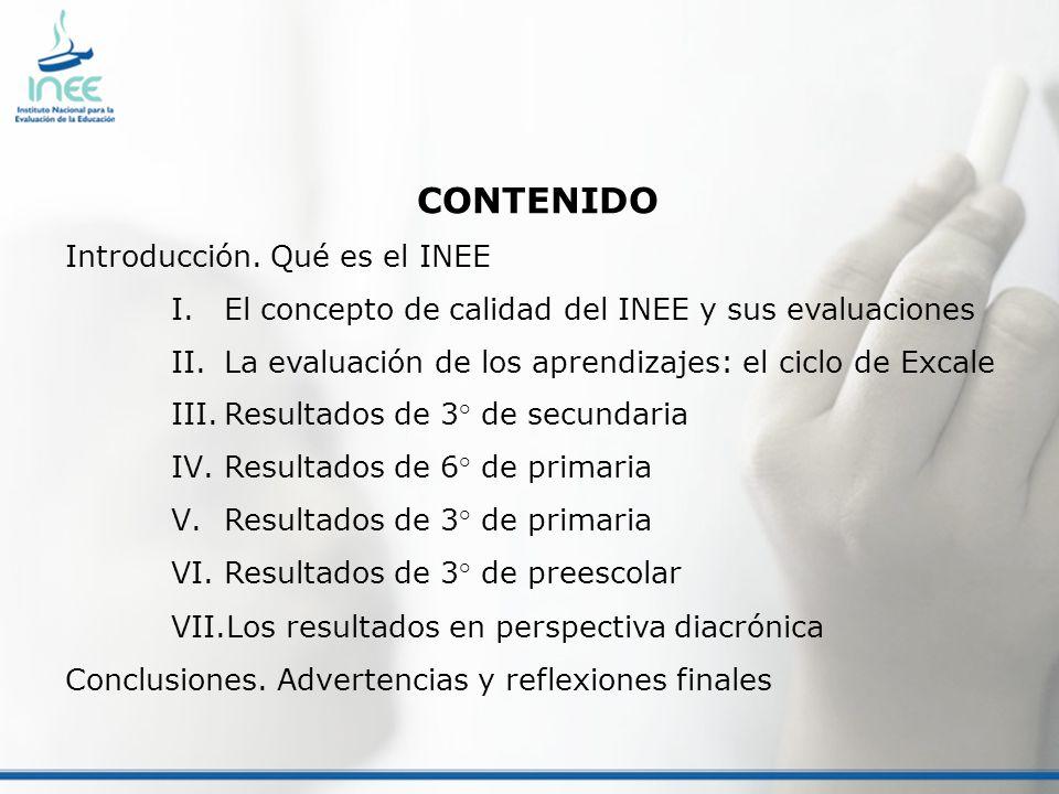 CONTENIDO Introducción. Qué es el INEE I.El concepto de calidad del INEE y sus evaluaciones II.La evaluación de los aprendizajes: el ciclo de Excale I