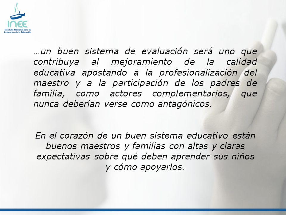 …un buen sistema de evaluación será uno que contribuya al mejoramiento de la calidad educativa apostando a la profesionalización del maestro y a la pa