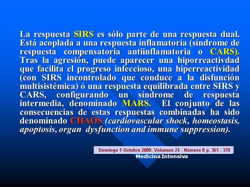La respuesta SIRS es sólo parte de una respuesta dual. Está acoplada a una respuesta inflamatoria (síndrome de respuesta compensatoria antiinflamatori