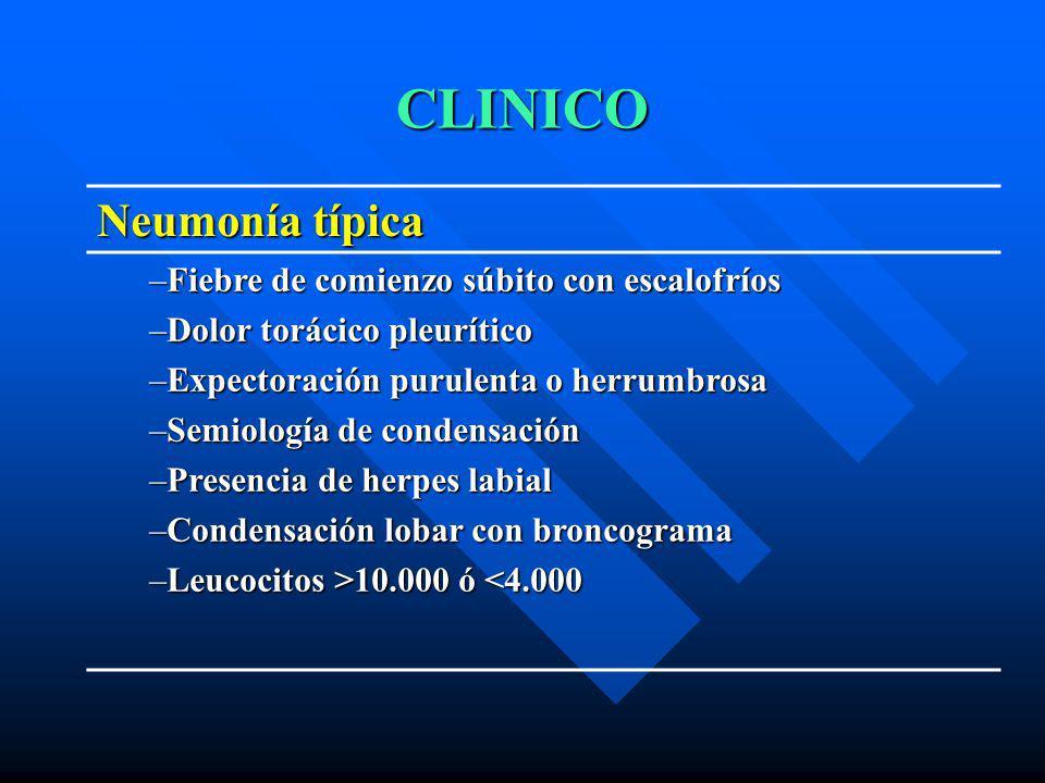 CLINICO Neumonía típica –Fiebre de comienzo súbito con escalofríos –Dolor torácico pleurítico –Expectoración purulenta o herrumbrosa –Semiología de co