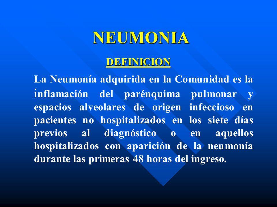 NEUMONIA DEFINICION La Neumonía adquirida en la Comunidad es la i nflamación del parénquima pulmonar y espacios alveolares de origen infeccioso en pac