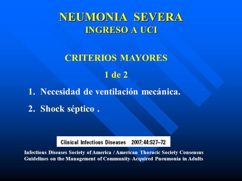 NEUMONIA SEVERA INGRESO A UCI CRITERIOS MAYORES 1 de 2 1.Necesidad de ventilación mecánica. 2.Shock séptico. Infectious Diseases Society of America /