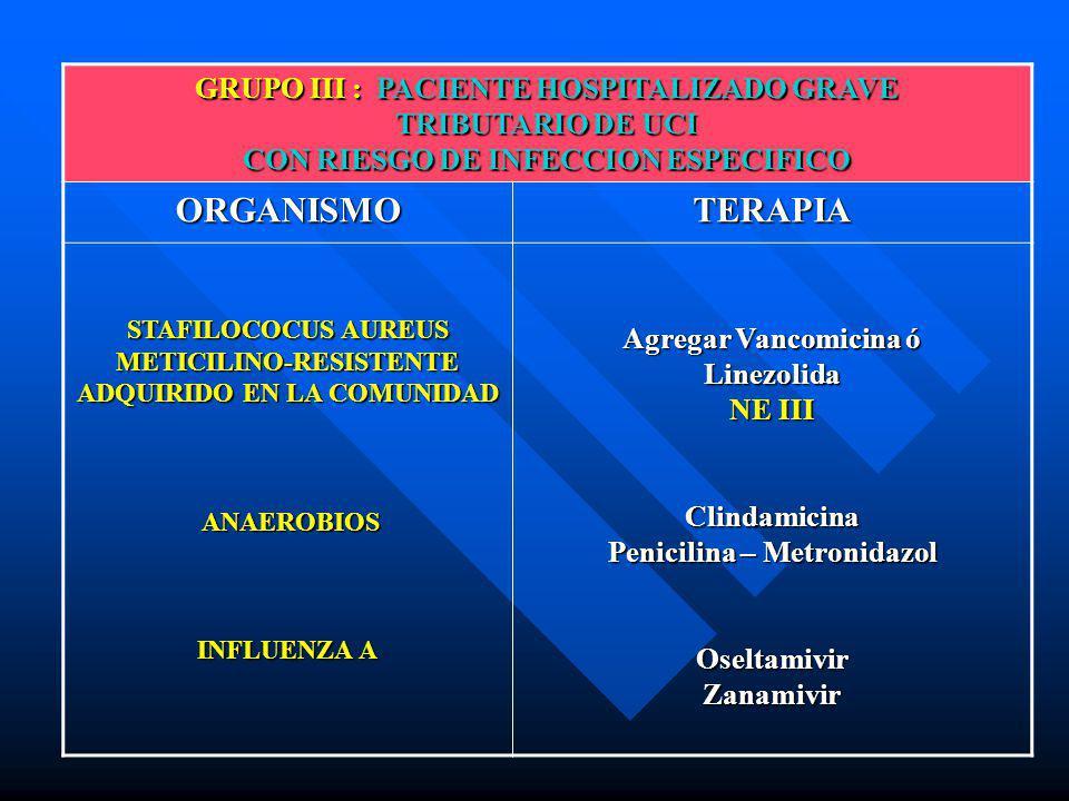 GRUPO III : PACIENTE HOSPITALIZADO GRAVE TRIBUTARIO DE UCI CON RIESGO DE INFECCION ESPECIFICO ORGANISMO TERAPIA STAFILOCOCUS AUREUS METICILINO-RESISTE