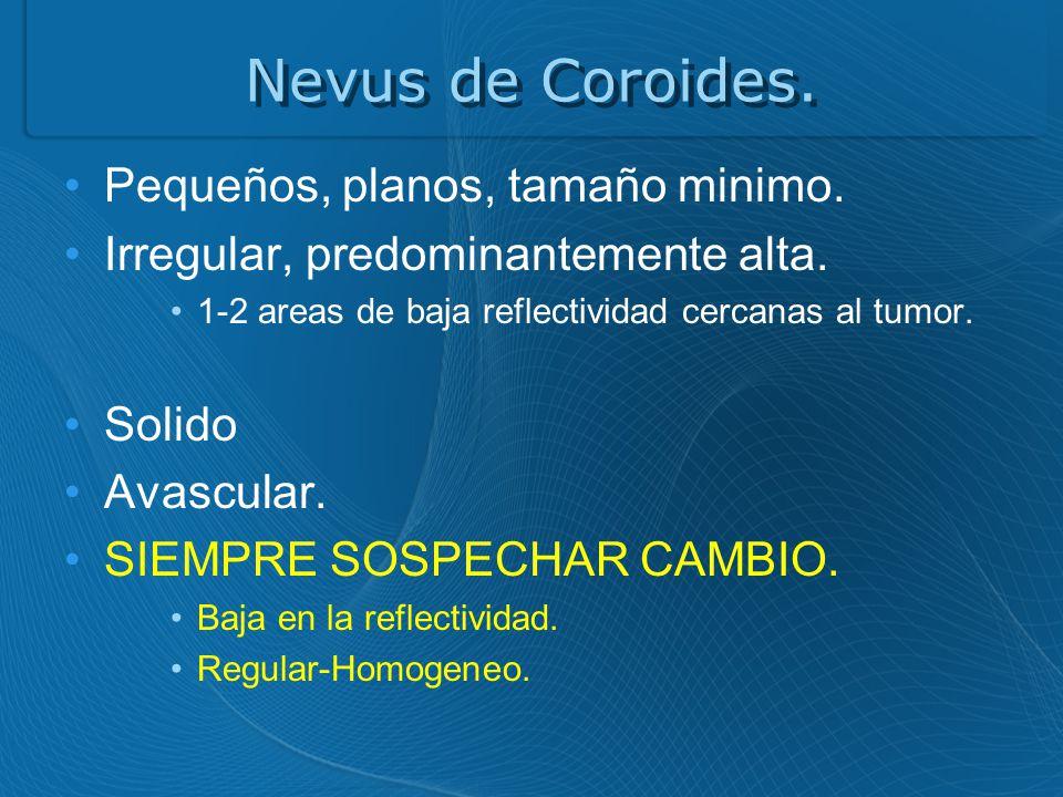 Nevus de Coroides.Pequeños, planos, tamaño minimo.