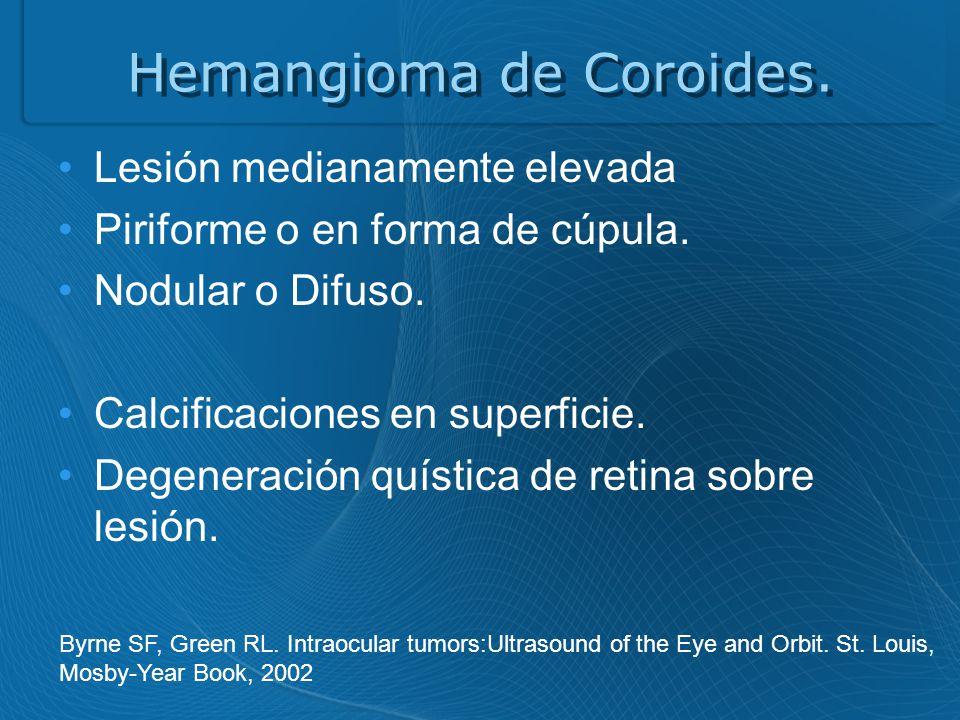 Hemangioma de Coroides.Lesión medianamente elevada Piriforme o en forma de cúpula.