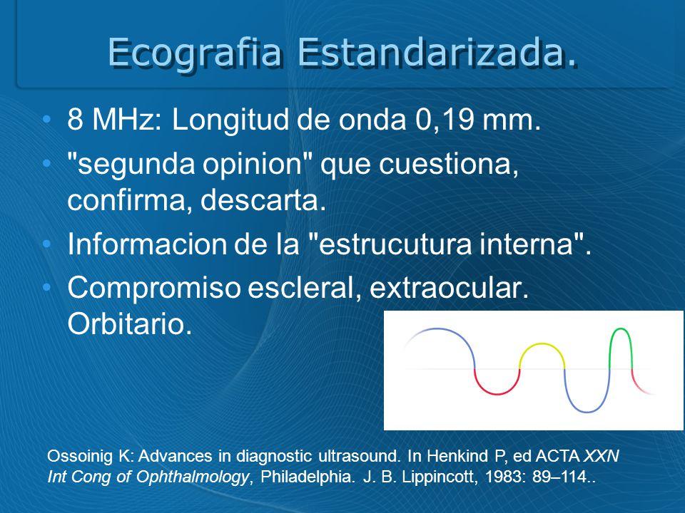 Ecografia Estandarizada.8 MHz: Longitud de onda 0,19 mm.