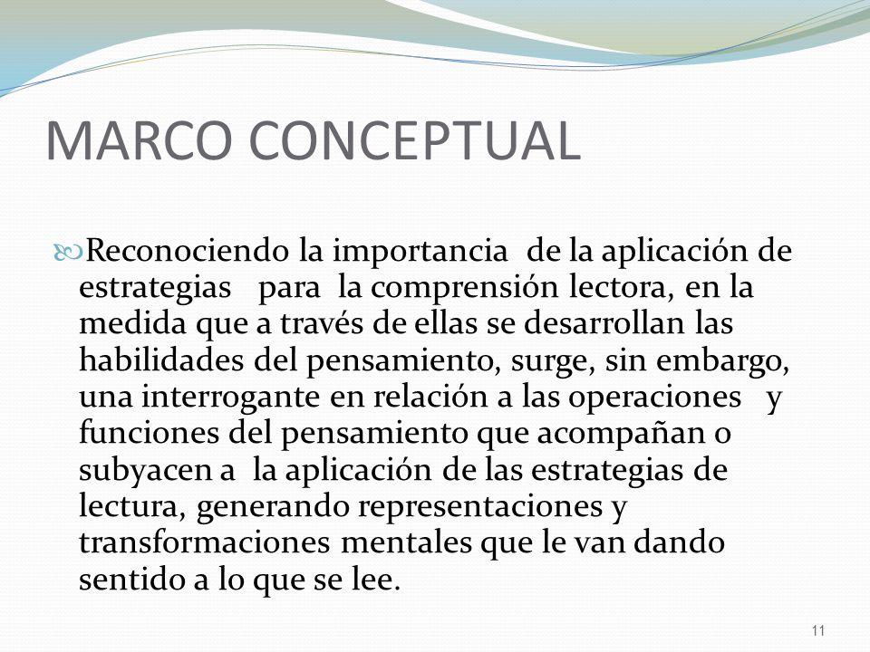 11 MARCO CONCEPTUAL Reconociendo la importancia de la aplicación de estrategias para la comprensión lectora, en la medida que a través de ellas se des