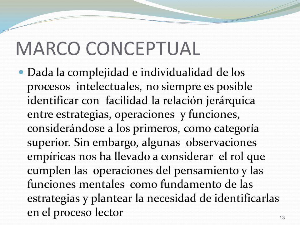 13 MARCO CONCEPTUAL Dada la complejidad e individualidad de los procesos intelectuales, no siempre es posible identificar con facilidad la relación jerárquica entre estrategias, operaciones y funciones, considerándose a los primeros, como categoría superior.