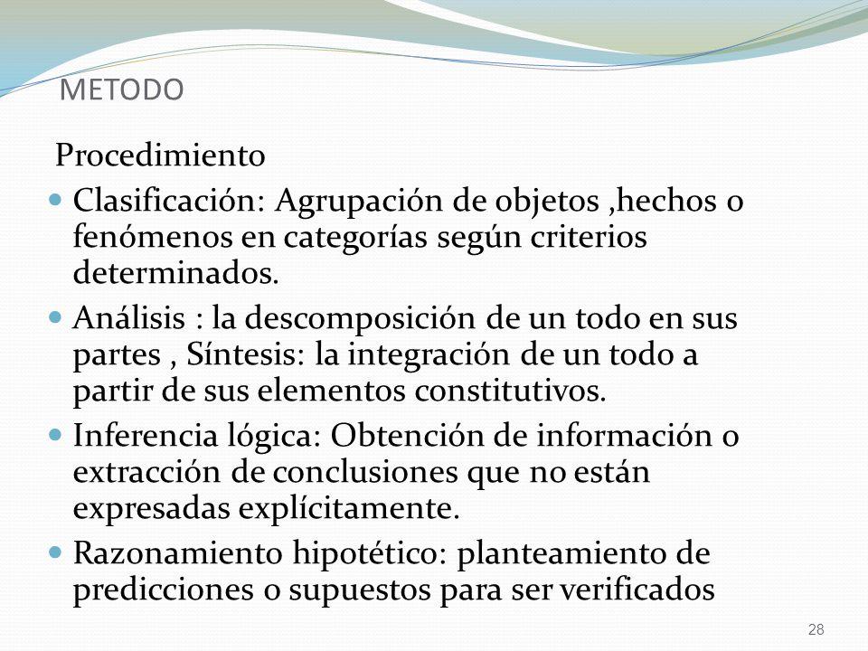 28 METODO Procedimiento Clasificación: Agrupación de objetos,hechos o fenómenos en categorías según criterios determinados. Análisis : la descomposici
