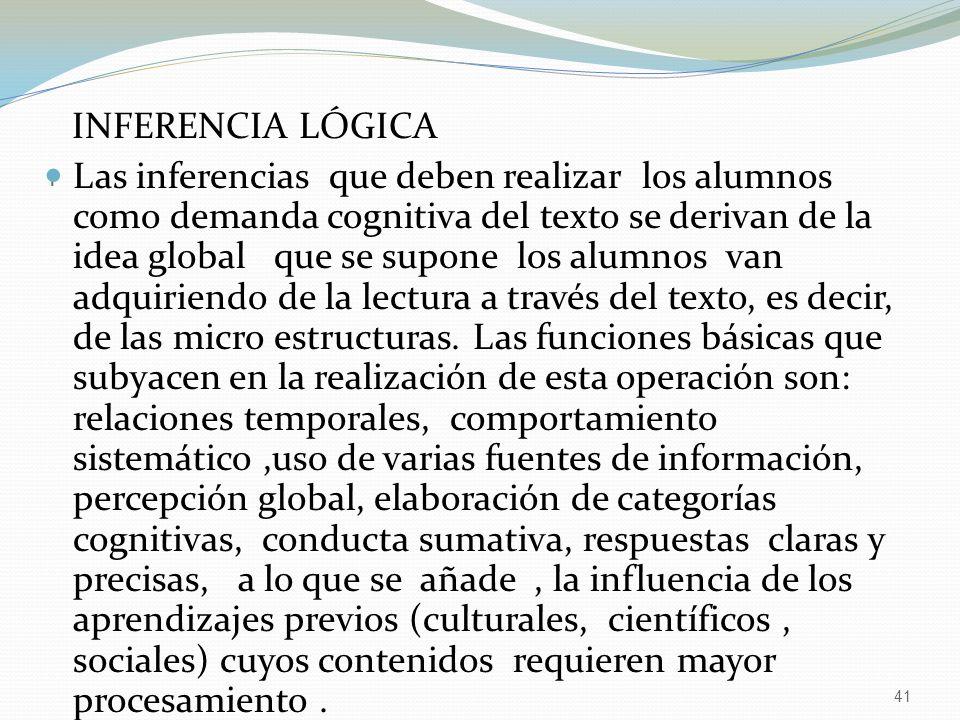 41 I INFERENCIA LÓGICA Las inferencias que deben realizar los alumnos como demanda cognitiva del texto se derivan de la idea global que se supone los alumnos van adquiriendo de la lectura a través del texto, es decir, de las micro estructuras.
