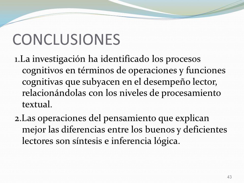 43 CONCLUSIONES 1.La investigación ha identificado los procesos cognitivos en términos de operaciones y funciones cognitivas que subyacen en el desempeño lector, relacionándolas con los niveles de procesamiento textual.