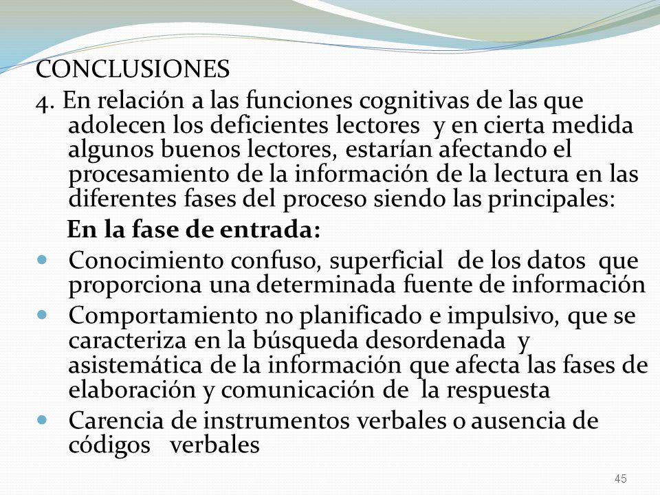 45 CONCLUSIONES 4. En relación a las funciones cognitivas de las que adolecen los deficientes lectores y en cierta medida algunos buenos lectores, est