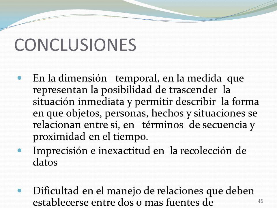 46 CONCLUSIONES En la dimensión temporal, en la medida que representan la posibilidad de trascender la situación inmediata y permitir describir la for
