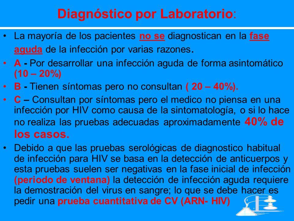 Diagnóstico por Laboratorio: La mayoría de los pacientes no se diagnostican en la fase aguda de la infección por varias razones. A - Por desarrollar u