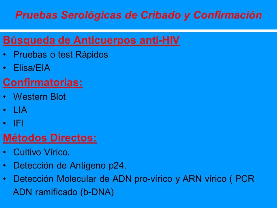 Pruebas Serológicas de Cribado y Confirmación Búsqueda de Anticuerpos anti-HIV Pruebas o test Rápidos Elisa/EIA Confirmatorias: Western Blot LIA IFI M