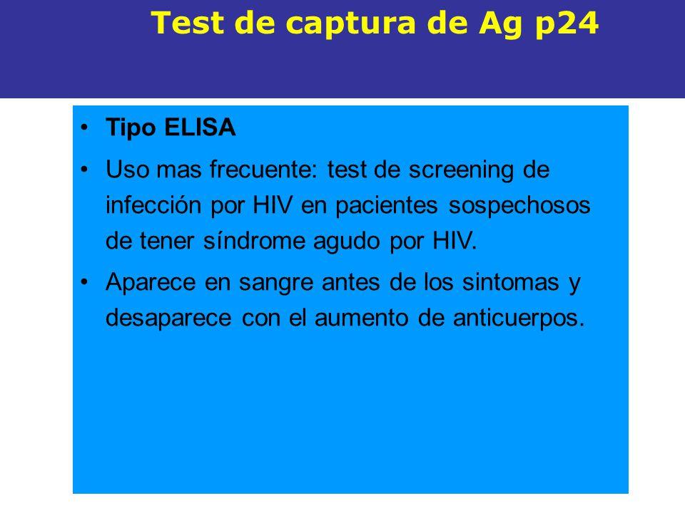 Tipo ELISA Uso mas frecuente: test de screening de infección por HIV en pacientes sospechosos de tener síndrome agudo por HIV. Aparece en sangre antes