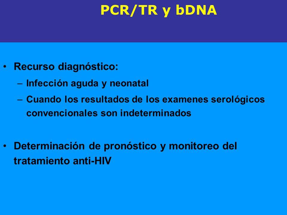 Test de detección directa de RNA-HIV Recurso diagnóstico: –Infección aguda y neonatal –Cuando los resultados de los examenes serológicos convencionale