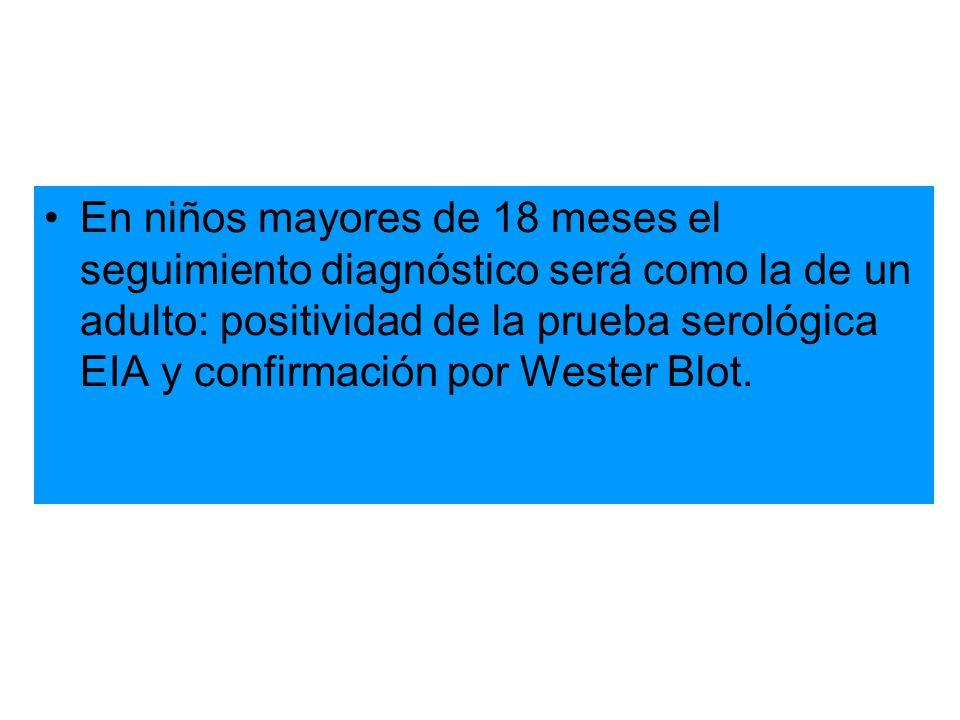 En niños mayores de 18 meses el seguimiento diagnóstico será como la de un adulto: positividad de la prueba serológica EIA y confirmación por Wester B