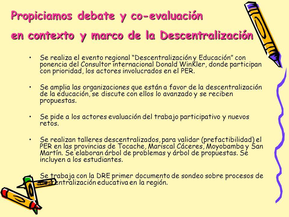Propiciamos debate y co-evaluación en contexto y marco de la Descentralización Se realiza el evento regional Descentralización y Educación con ponenci