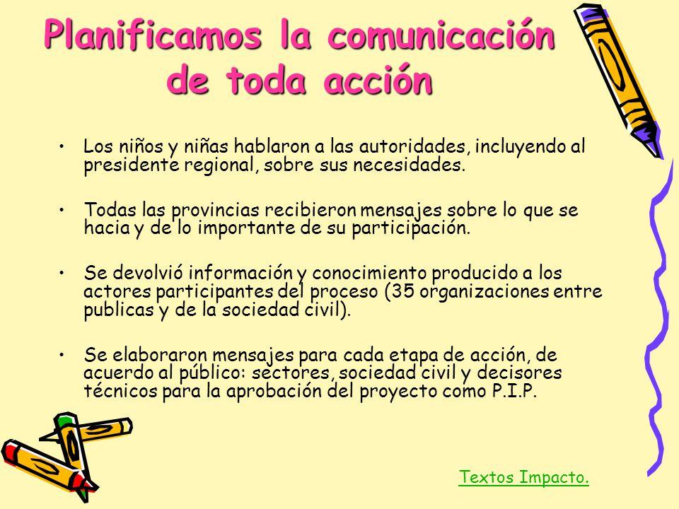 Planificamos la comunicación de toda acción Los niños y niñas hablaron a las autoridades, incluyendo al presidente regional, sobre sus necesidades. To