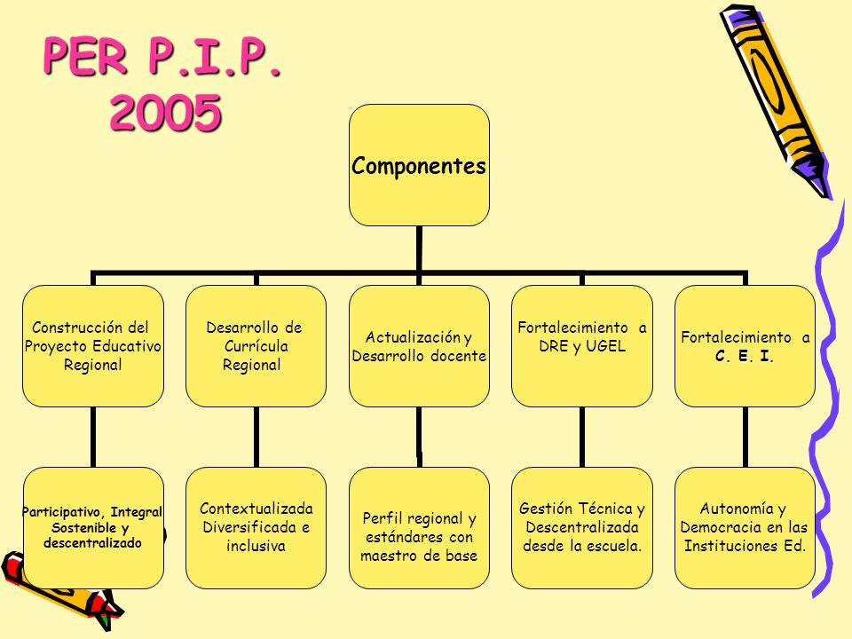 PER P.I.P. 2005 Componentes Construcción del Proyecto Educativo Regional Participativo, Integral Sostenible y descentralizado Desarrollo de Currícula