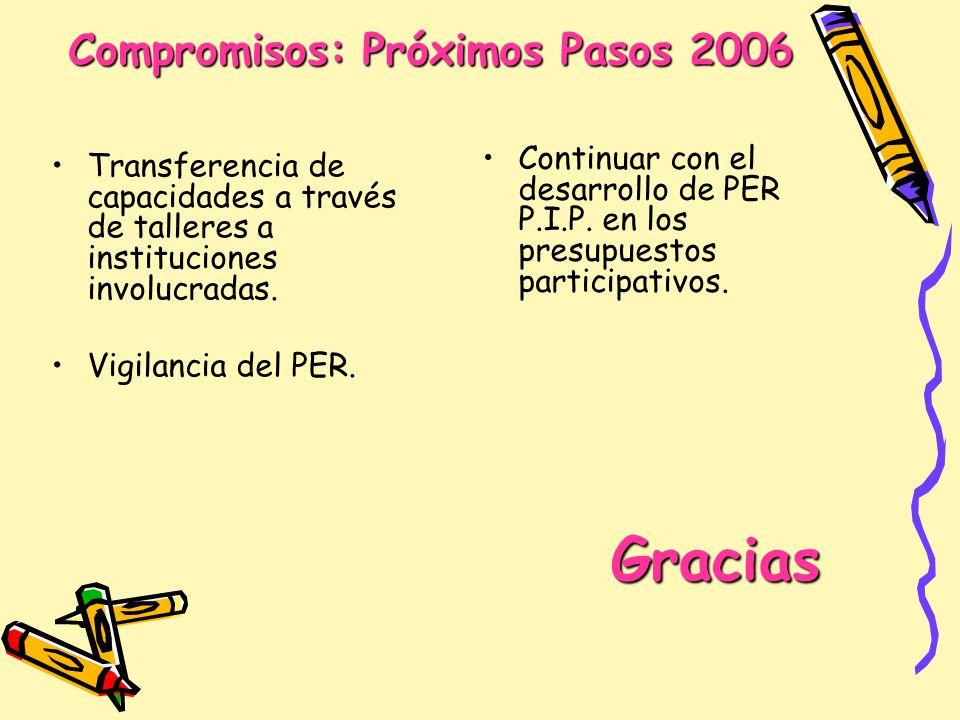 Compromisos: Próximos Pasos 2006 Transferencia de capacidades a través de talleres a instituciones involucradas. Vigilancia del PER. Continuar con el